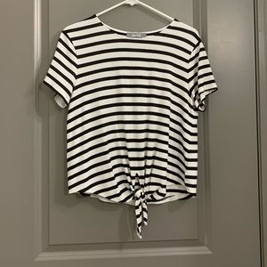 Tops - Women's striped tie front tee